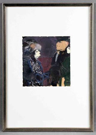 """MARSANS, LUIS. """"Chez Madame Verdurin"""". Gouache y pastel sobre papel, 21x20 cm. Al [...]"""
