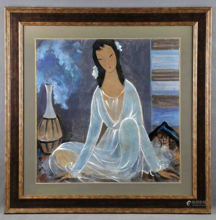 """FENGMIAN, LIN. """"Dama oriental"""". Tinta y color sobre papel, de 70x70 cm. Firmada y con [...]"""
