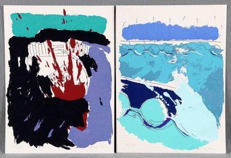 """ILEGIBLE. """"Abstracciones"""". Dos serigrafías. Firmadas y numeradas 62/75. Med.: [...]"""