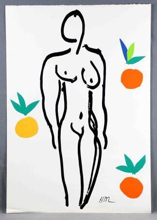 """MATISSE, HENRI. """"Nu aux oranges"""". Serigrafía sobre papel Arches. Ed. Nouvelles [...]"""