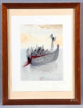 """DALÍ, SALVADOR. """"La barca con el ángel barquero"""". Xilografía. Perteneciente a la [...]"""