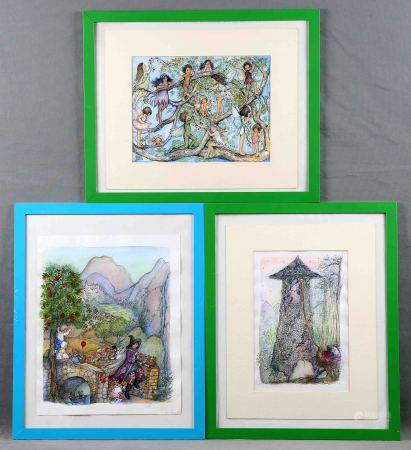 """BONNY. """"Cuentos de los Hermanos Grimm"""". Lote de 3 dibujos a tinta y acuarela sobre [...]"""