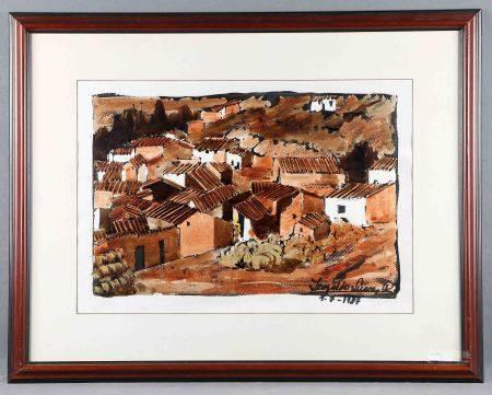 """SUÁREZ RODRÍGUEZ, LEOPOLDO. """"Pueblo"""". Acuarela y gouache sobre papel, de 47x67,5 [...]"""