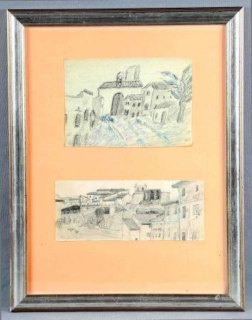 """VILLA, MIGUEL. """"Vistas de un pueblo"""".  Dos dibujos a lápiz en un mismo marco, de [...]"""