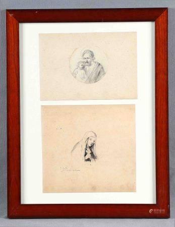 """YUSTE, FÉLIX. """"Figuras religiosas"""". Dos dibujos a lápiz en un mismo marco, de [...]"""