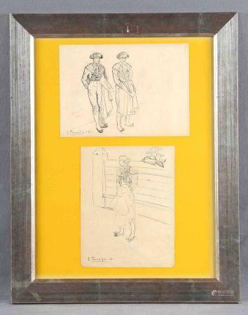 "TERRUELLA, JOAQUÍN.  ""Toreros"". Dos dibujos a lápiz en un mismo marco, de 14,5x21 [...]"