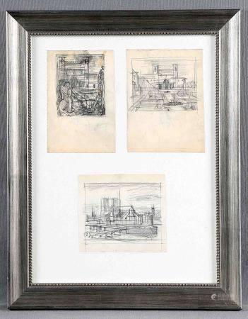 "DECARIS, ALBERT. ""Arquitecturas"". Tres dibujos a lápiz en un mismo marco, de 16x11 [...]"