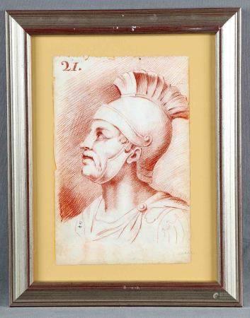"ANÓNIMO, S.XVII-XVIII. ""Figura clásica"".  Sanguina, de 32x21 cm.       -"