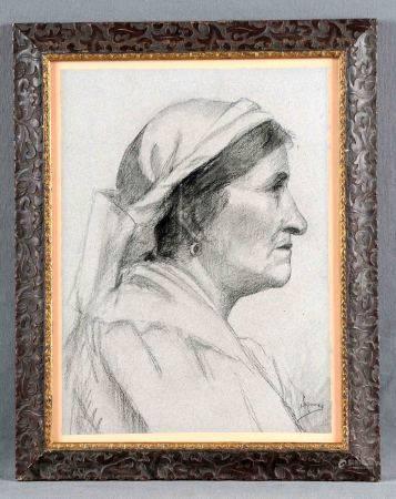 """GÓMEZ POLO, SIMÓN. """"Anciana"""". Dibujo a carboncillo, de 37x27 cm. Firmado.    -"""