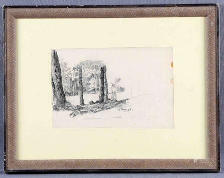 "TAMBURINI, JOSÉ Mª. ""Figura y paisaje"". Dibujo a carboncillo, de 16,5x25 cm. Firmado. -"