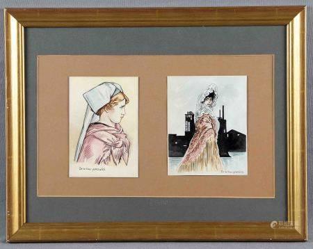 """GONZÁLEZ, ZACARÍAS. """"Damas"""".  Dos acuarelas en un mismo marco, de 15x11 cm. aprox. [...]"""