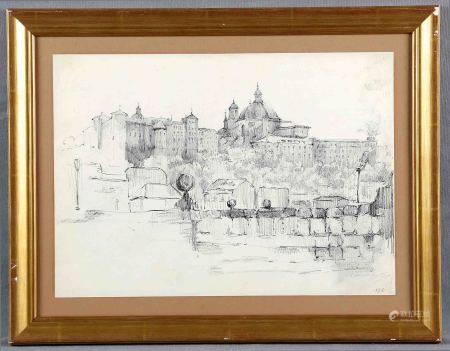 """VICENTE, EDUARDO. """"Vista de Madrid"""". Dibujo a lápiz, de 25x35 cm. Firmado.     -"""