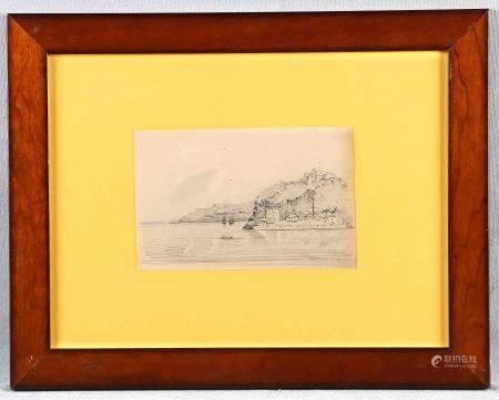 """ARPA, JOSÉ. """"Vista desde el mar"""".  Dibujo a lápiz, de 14x21,5 cm. Firmado. -"""