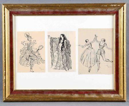 """ZAMORA, JOSÉ DE. """"Personajes de teatro"""". Tres dibujos a tinta en un mismo marco, dos [...]"""
