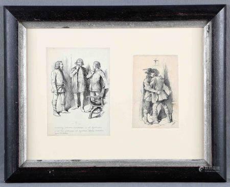 """BADÍA, EDUARDO. """"Escenas"""".  Dos dibujos a tinta en un mismo plano, de 16x10 cm. y [...]"""