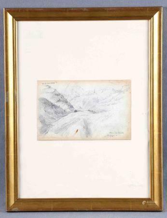 "VELASCO, JOSÉ Mª. ""Paisaje. Paso de Cortes"". Dibujo a lápiz, de 13x20,5 cm. [...]"