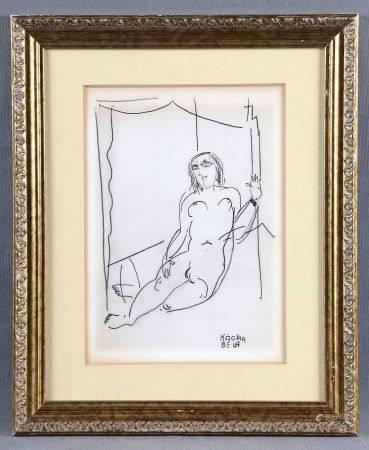 """KÁDÁR, BÉLA. ATRIBUIDO. """"Femme nue"""". Grafito sobre papel, de 24x18,5 cm. Con [...]"""