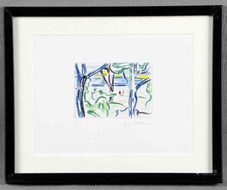 "LICHTENSTEIN, ROY. ""Landscape with figures"".  Litografía color sobre papel [...]"