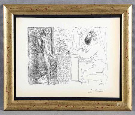 """PICASSO, PABLO. """"Sculpteur et son modèle devant une fenêtre. Suite Vollard, plate [...]"""