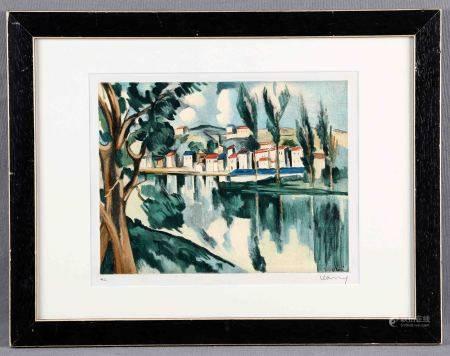 """VLAMINCK, MAURICE. """"Maisons au bord de la Seine à Chatou"""". Litografía color. [...]"""