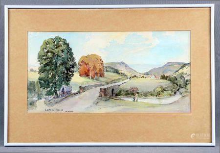 """GERHARDT L.E. MARGARETHE. """"Camino al mar con puente sobre río"""". Acuarela, de 25x49 [...]"""