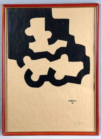 """CHILLIDA, EDUARDO. """"Composición"""". Litografía sobre papel Kraft. Justificada H.C., [...]"""