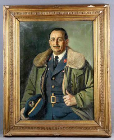 """LUQUE FERNÁNDEZ, MANUEL. """"Retrato del Capitán Salán"""". Óleo sobre lienzo, de 86x66 [...]"""