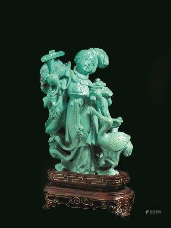 SCULTURA IN TURCHESE, CINA, SEC. XX  - raffigurante figura femminile con volatile; [...]
