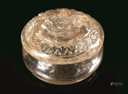 CONTENITORE CON COPERCHIO, CINA, SEC. XX  - in cristallo di rocca; diam. cm 5  - [...]