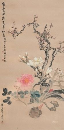 吴 征(1878~1949)江寒汀(1904~1963)唐 云(1910~1993) 神仙富贵图