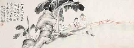 沈子丞(1904~1996)唐 云(1910~1993)钱瘦铁(1897~1967) 芭蕉人物图