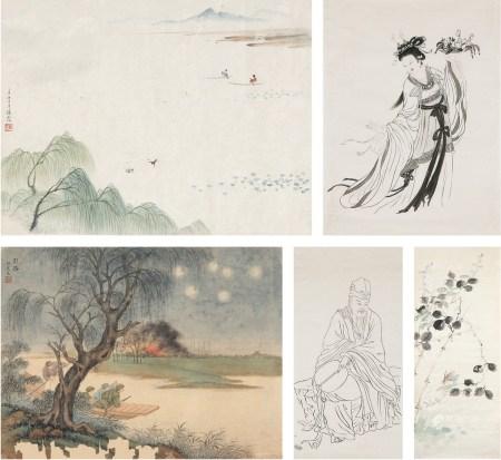 周炼霞(1908~2000) 山水花卉人物五帧