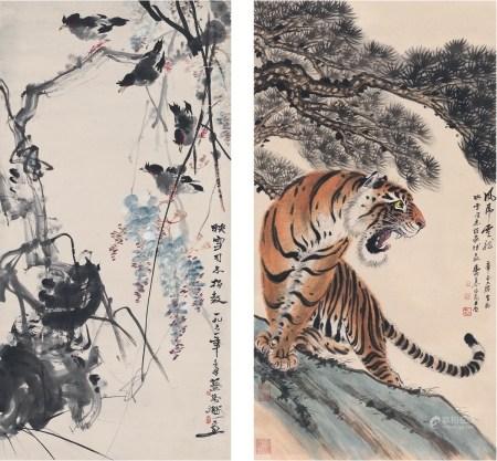 蔡鹤洲(1911~1971)慕凌飞(1913~1997) 紫藤禽趣图•虎啸图