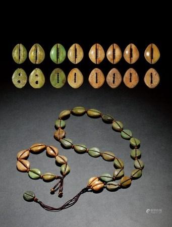 商•二、五、六、七孔骨贝币手串及骨贝币项鍊一对