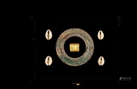 商-西周•贝币纹青铜环及鎏金贝币环一组六枚