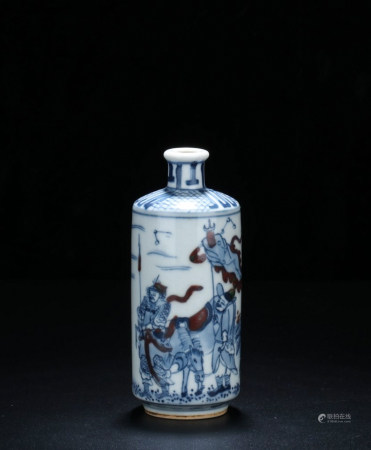 CHINESE BLUE WHITE SNUFF BOTTLE, QING DYNASTY