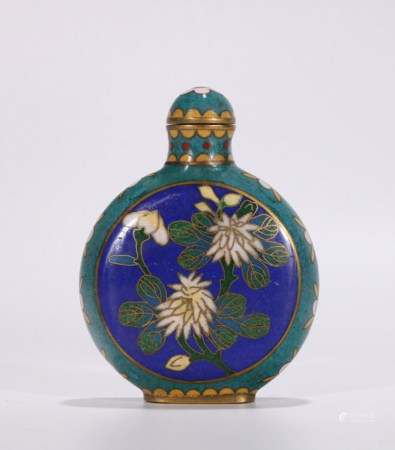 CHINESE CLOISONNE SNUFF BOTTLE, QING DYNASTY