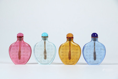 CHINESE PEKING GLASS SNUFF BOTTLE, SET OF 4