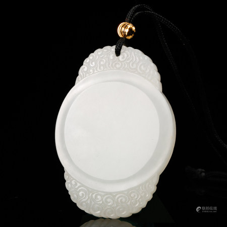 CHINESE WHITE JADE PLAQUE PENDANT, QING DYNASTY