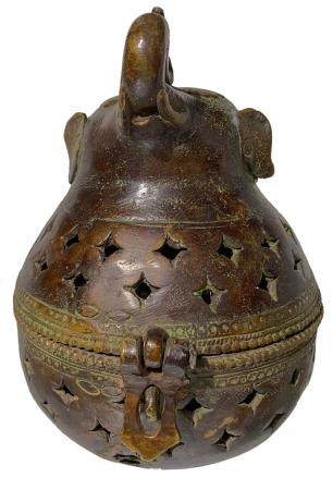 Bronze incense burner, cover with elephant head. India, 20th