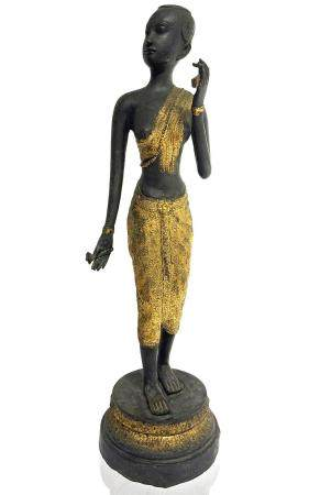 Origin Thai. Ancient statue in metal with gold plating in th