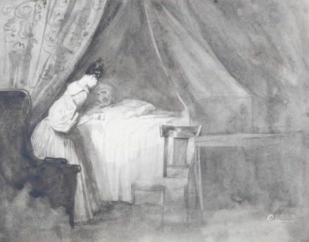 Ecole française vers 1830  - La visite du malade Lavis gris 15,5 x 20 cm  - The [...]