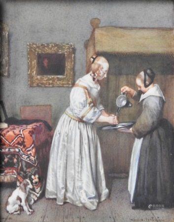 Ecole française du XIX siècle, dans le goût de Gabriel Metsu  - Femme et sa [...]