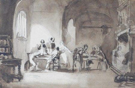 Ecole hollandaise, vers 1840  - Intérieur de taverne Plume et lavis brun 16 x 24 cm  [...]