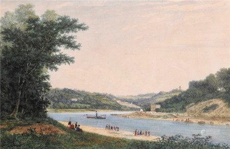 David Sutter (Genève 1811 - Paris 1880)  - Navire remontant un fleuve Aquarelle 17 x [...]