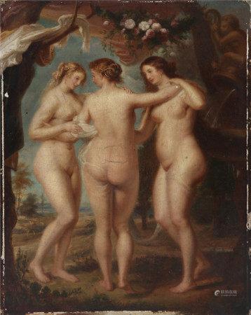 Ecole flamande du XIX° siècle, dans le goût de Pierre Paul  - Rubens Les trois [...]