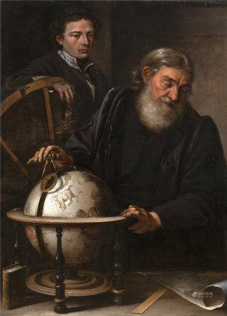 Ecole italienne du début du XVIII° siècle  - Astronome et son disciple Toile 130 x [...]