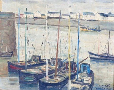 Paul Kermmo (XX° siècle)  - Les voiliers au mouillage Huile sur toile signée en [...]