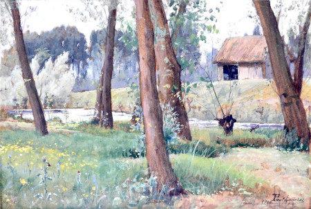 Paul Louchet (1854 - 1936)  - Bord de rivière, 1900 Huile sur panneau signé en bas [...]