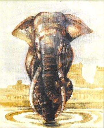 Jean Royer (1920-2011)  - Eléphant Aquarelle et gouache sur papier signé en bas à [...]